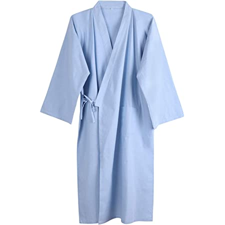 Ropa de noche para hombre y mujer, pijamas de algodón, transpirable, kimono, traje de pijama, albornoz para el hogar