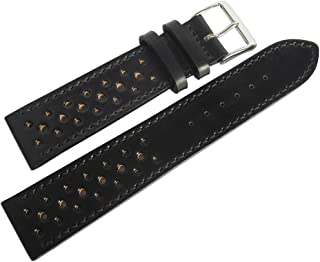 Fluco Shell Cordovan Racing 19mm Black Leather Watch Strap