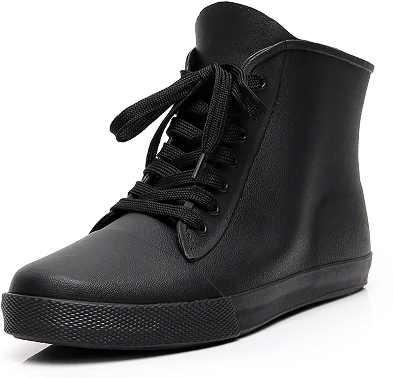 PWQU Willington Men's Rain Boots, Low Waterproof Non-Slip Plastic Rain Boots