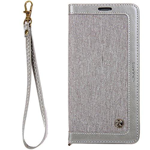 Apple iPhone 6/6s 4,7' Leder Hülle Flip Case Handytasche und Brieftasche mit Standfunktion Kredit Karten Fach mit Unsichtbarem Magnet,Grau