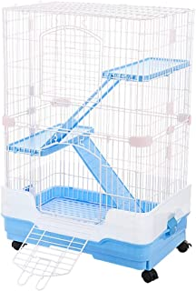 Rabbit Hutch, Indoor Household Squirrel Nest, Pet Storehouse with Three Floors of Extra Large Space and Toilet, and The Fence is Splashproof (Color : Blue, Size : 65 * 44.5 * 92cm)