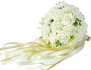 Febou Wedding Bridal Bouquet, Wedding Bride Bouquet, Wedding Holding Bouquet with Artificial Roses Lace Pearl Ribbon, Perfect for Wedding, Church, Party and Home Decor(Long Ribbon,White)