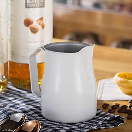 Coffee Maker Filter Coffee Machine Milk Jug 304 Stainless Steel Thick Pull Flower Cylinder Tip Pull Flower Cup Espresso,Silver