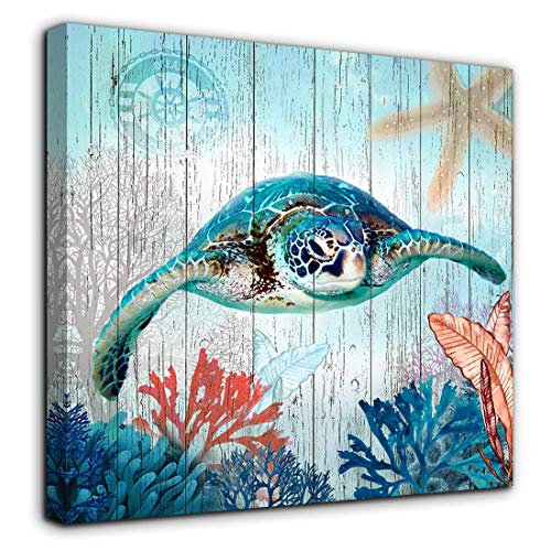 Bathroom Decor Sea Turtle Canvas Wall Art Ocean Beach Coast Theme Canvas Picture Artwork Ready to Hang for Home Kid Girls Room Bedroom Wall Decoration Size 14x14 Framed