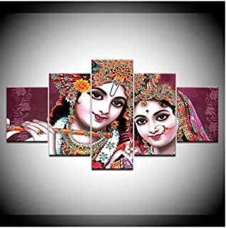 WANGJRU HD Printed Pictures For Living Room Canvas Wall Art Frame 5 Piece India God Radha Krishna Painting Home Decor Post...