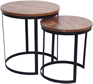 The Urban Port 69100 Industrial Style Round Nesting Tables,Set Of 2, Brown And Black