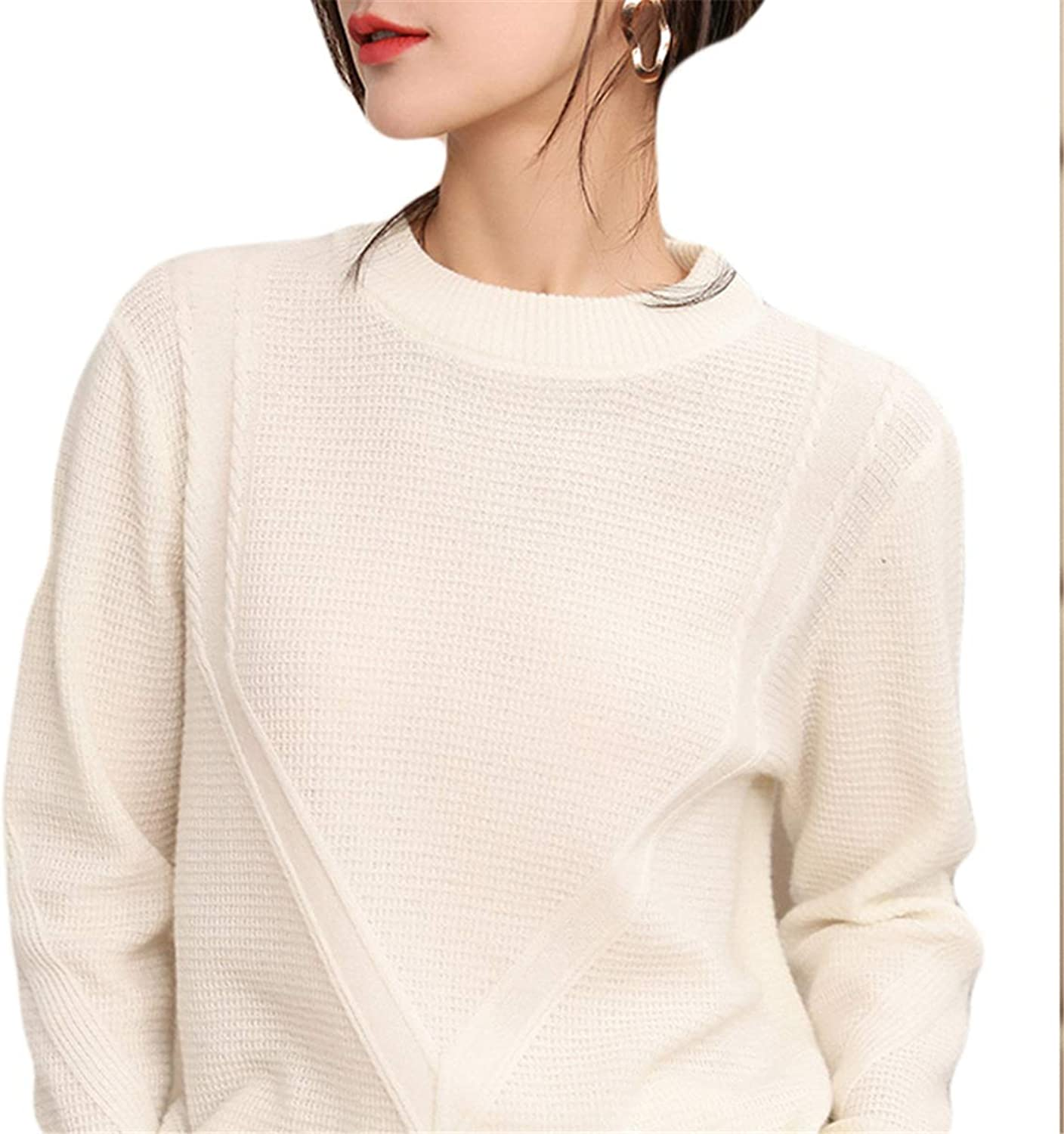 MCieloLuna Women's Cashmere Knitted Crew Neck Long Sleeve Sweaters
