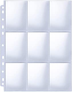 HERKKA Trading Card Sleeve Pages, 100 Pack 9 Pocket Trading Card Storage Album Pages 11..