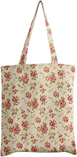 Nuni Women's Rose Flower Print Cotton Canvas Tote Shoulderbag Shopping Bag
