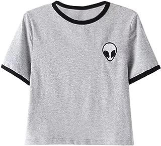 Teen Girls Short Sleeve Funny Cute Alien Crop Top T-Shirt