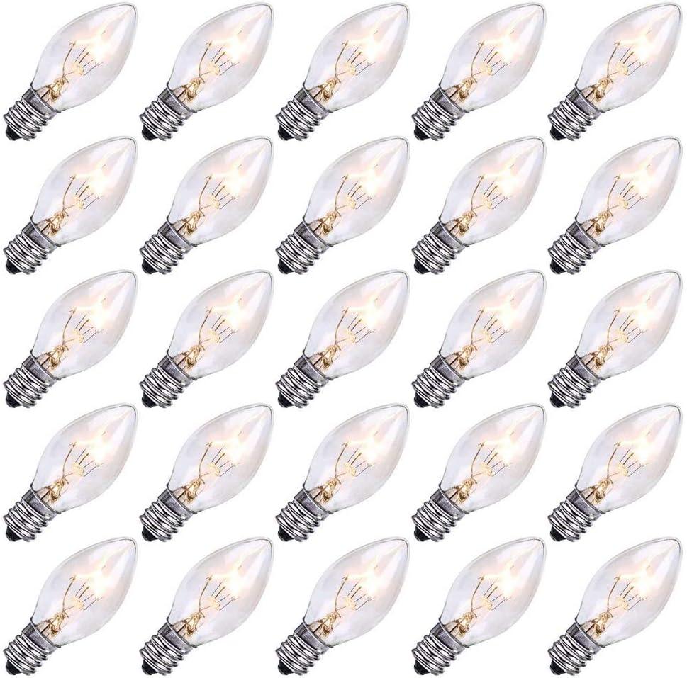 25 Pack C7 Clear Replacement Bulbs Christmas Light Bulbs, Outdoor Patio String Light Bulbs, Night Light Replacement Bulbs, E12/C7 Candelabra Base, 5 Watt- Clear