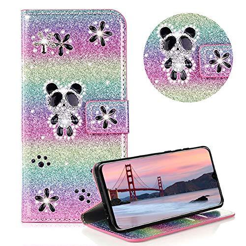 Glitzer Strass Brieftasche für Huawei Mate 20 Lite,Regenbogen Rosa Leder Hülle für Huawei Mate 20 Lite,Moiky Luxus 3D Magnetisch Kristall Niedlich Panda Blumen Diamant Hülle mit Kartenfächer Ständer