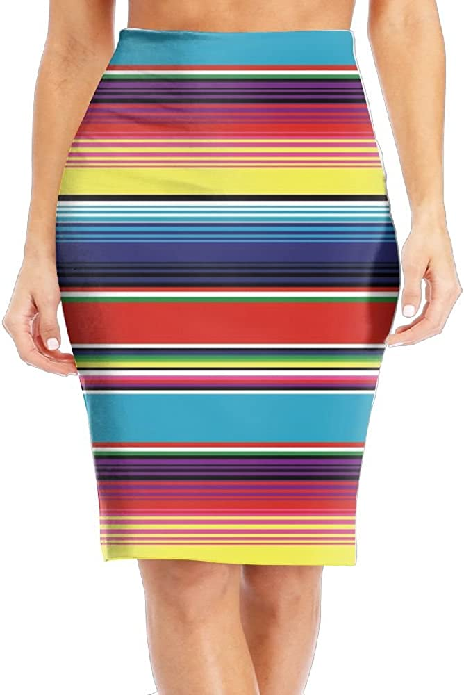 Colorful Mexican Blanket Stripes Women's Fashion Printed Pencil Skirt