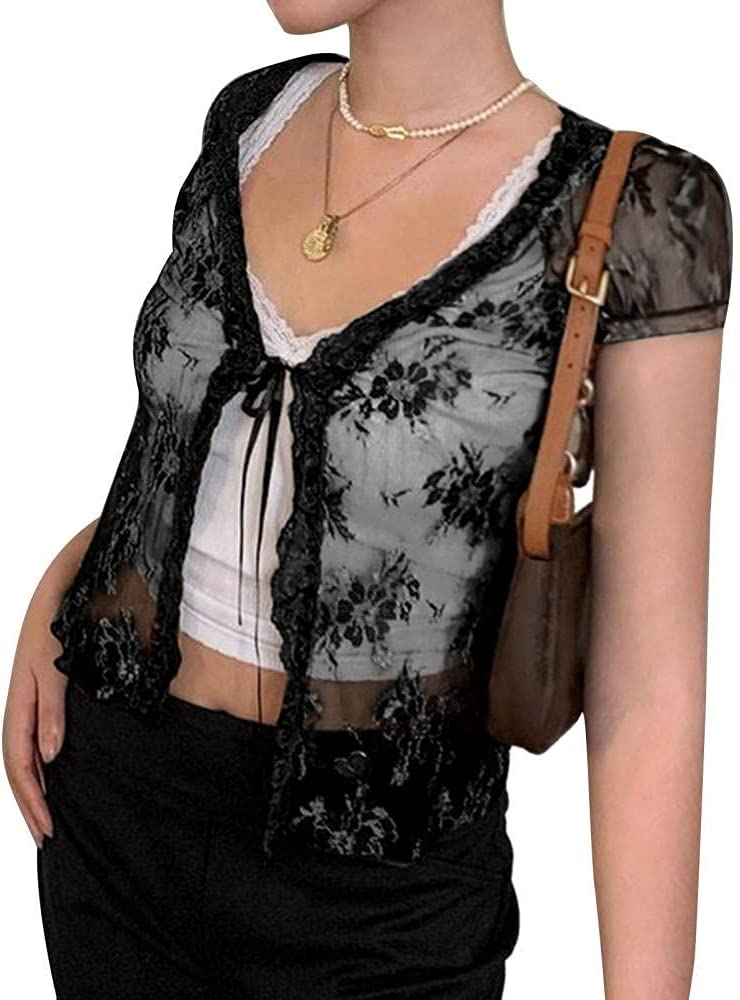 HSHUIJP Sexy Tops for Women Sexy See Through Lace Mesh Cardigan Tops Women Summer Fashion Short Sleeve V Neck Lace Up T Shirt Beach Holiday Casual Top Women, s Vests (Color : Black, Size : L)