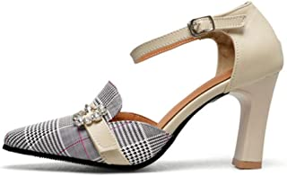 GLOPY& New Plaid high Heels Women Pumps Poined Toe Mather Shoes Office Ladies led Shoes