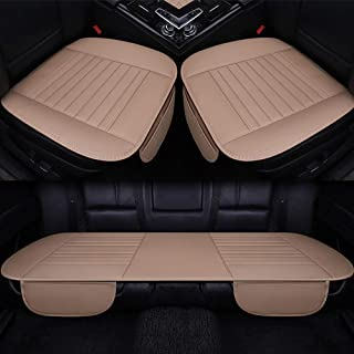Tuhu-auto Car Seat Cover Breathable Wear Resistant Decoration Automotive Interior Accessories Artificial Leather for Sedan Pickup SUV Truck Seat Cushions 3 Pcs (Beige)