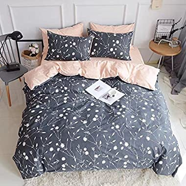King Duvet Cover Cotton Bedding Set Gray Flowers Branches Printing,Reversible Peach and Gray Duvet Cover Set-Ultra Comfy,Breathable,Zipper Closure-Branches,King