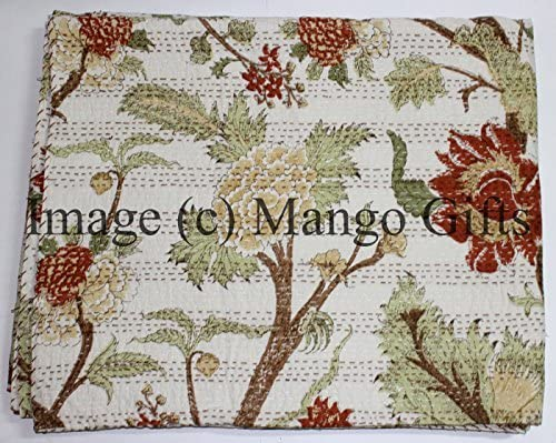 Mango Arlington Mall Ranking TOP2 Gifts Pure Cotton Kantha Style Size Bed Quilt Twin Spread