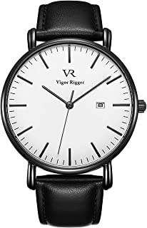 Vigor Rigger Mens Analog Quartz Watches Minimalist Ultra Thin Watches for Men with Date Disply