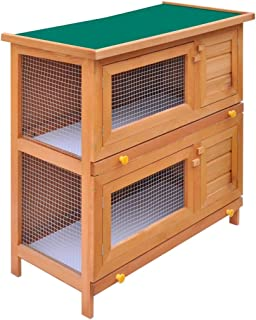 Heitamy Rabbit Hutch, 2 Floors Wooden House Rabbit Hutch Cage 2 Floors Pet Rabbit House Rabbit Shelter with Mesh Animal Cage for Backyard Garden