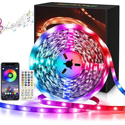 Maxsure LED Strip 10M RGB5050, LED Streifen 10M, Ferbedienung, Schneidbar, Mehrfarbig, Memoryfunktion, 4 Musikmodi, 300 LEDs, Sync mit Musik für Wohnzimmer, Schlafzimmer, Partys(Nicht Wasserdicht)
