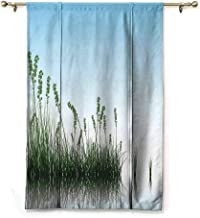 Andrea Sam Rod Pocket Curtain Landscape,Scenery of a Lake Bushes Grass with Reflection Floral Art Image Print,Pale Blue Jade Green_1,48