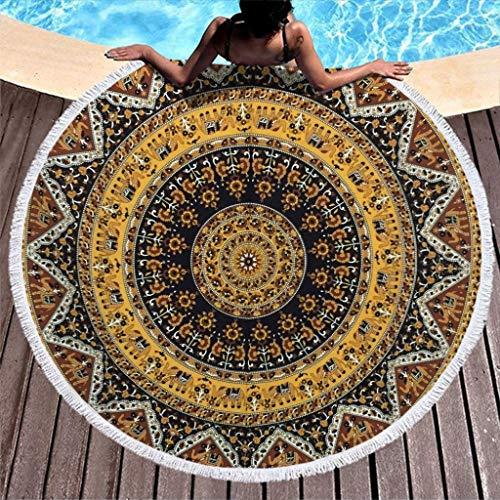 RQPPY Round Quaste Strandtuch Beach Throw Yellow Handwerk Strand Yogamatte Picknick Matte Tuch Meditation Chiffon Duschtuch Schal 150CM White 150cm