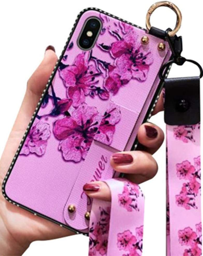 Aulzaju iPhone X Loopy Case Soft Silicone Flower Design iPhone Xs Case for Girls with Wrist Strap iPhone Xs Kickstand Case with Crossbody Lanyard iPhone X Case with Ring for Women 5.8'' Purple