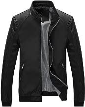 Sumen Winter Clothing Men's Casual Leather Stand Collar Zipper Pocket Jacket Coat