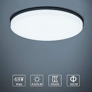 Yafido LED Lámpara de Techo Moderna 48W Plafón Led Redonda Ultra Delgado Downlight Blanco Frío 6500K 4320LM adecuada para Cocina Balcón Dormitorio Corredor Sala de Estar Ø30cm No-Regulable