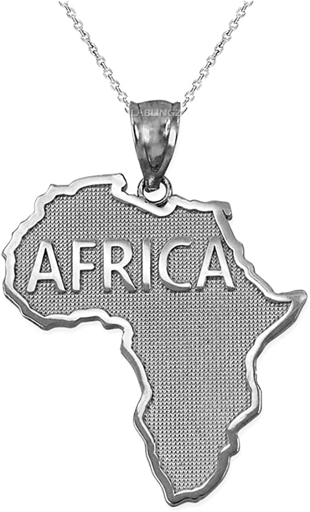 Purchase Sterling Max 53% OFF Silver Africa Necklace Pendant Map