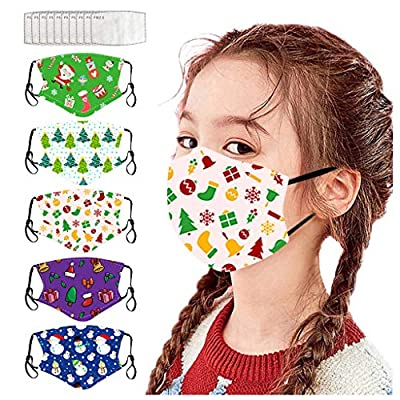 Hotkey F_topbu 5pcs Kids Reusable Face Bandanas with 10pcs Filter Washable Breathable Merry Christmas Face_Masks Face Cotton Covering for Childrens Outdoor