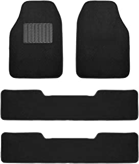FH Group F14406BLACK Black- 3 Row Premium Carpet Floor Mats with Drivers Heel Pad for SUVs and Minivans