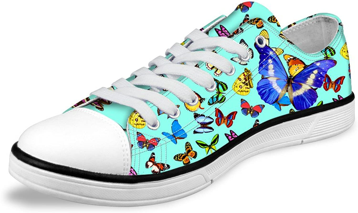 Micandle Romantic Butterfly Print Fashion Low Top Canvas Sneaker shoes for Women Girls