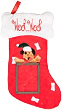 Puppy Dog Hanging Christmas Stocking | For Kids & Adults | 4x5 Picture Frame | Red & White Woof Woof Holiday Decor Theme |...