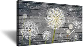 iHAPPYWALL Rustic Style Neutral Grey Floral Wall Decor Dandelion White Flower on Vintage Grey Wood Board Background Picture for Bedroom Stretched and Framed Ready to Hang 20