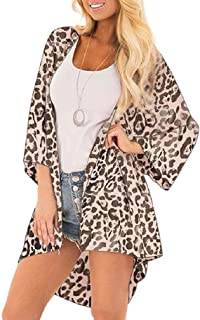RkBaoye Womens Floral Printing Regular Chiffon Leopard Swimwear Cover up Dress