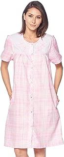Women's Short Sleeve Snap-Front Lounger Duster House Dress