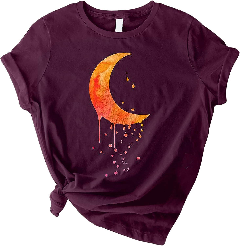Women Moon Printed T-Shirt O-Neck Short Finally popular brand D Tops Tee Sleeve Casual 25% OFF