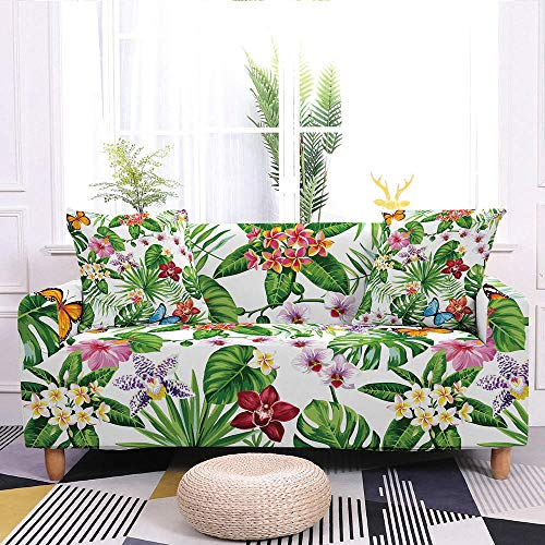 HUITAILANG Sofa Slipcover Stretch Printed Couch Cover 1-Piece,Elastic Armchair Universal Furniture Protector,Floral Loveseat Pet Dog Protector For Living Room Decor,White,Small