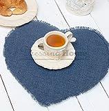 Blanc Mariclo Tovaglietta Americana Cuore Shabby Chic Itaca Collection Colore Blu Pavone