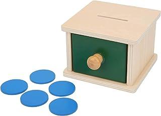 صندوق خشبي للأطفال، لعبة صندوق كروي، صندوق خشبي خشبي للأطفال، مرح تعليمي للأطفال (يرفوا ويفرغون علب)