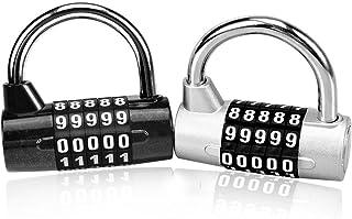 comprar comparacion Astarye Combination Padlock 2 Pack con candado antirruido ajustable de 5 dígitos con dial liso para escuela, outdoor, equi...