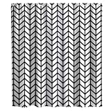Black and White Shower Curtain Geometric Textured Chevron Herringbone Theme Cloth Fabric Bathroom Minimalist Decor Sets with Hooks Waterproof Washable (70W×70L)