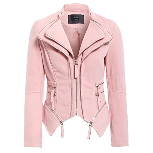 a93fbb50c4e SS7 Womens Faux Suede Biker Jacket Ladies Size 8 10 12 14 Pink Black Grey