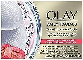 Olay Daily Facials droogdoeken met water, magnetronreiniging, normale huid, reinigingsprestaties 5-in-1, 30 doeken
