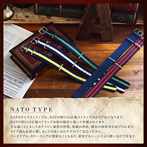 『NATMK 時計ベルト NATO ブラックバックル ナイロン ストラップ 取付マニュアル付 (20mm, カーキグリーン)』の4枚目の画像