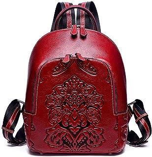 DokinReich Rucksack Damen City Rucksack Outdoor süßer Lederrucksack Vintage Echt Leder 3D Prägung Rot