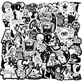 100 Pieces Gothic Stickers for Water Bottle, Black White Gothic Stickers Horror Thriller Stickers Waterproof Vinyl Decals Cool Graffiti Stickers for Laptop Luggage Notebook Skateboard Car