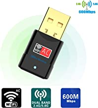 Blueshadow USB WiFi Adapter AC600Mbps - Dual Band 2.4G/5G Mini Wi-fi ac Wireless Network Card Dongle with High Gain Antenna for Desktop Laptop PC Support Windows XP Vista/7/8/8.1/10 (USB WiFi 600Mbps)